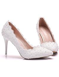 Damen Brautschuhe /Weiße Hochzeitsschuhe/Bequeme Strass High Heels/Pearl Silk Lace /Kristall Hochzeit Schuhe BrautTipp flache Schuhe mit großen Zahl, weiß 39
