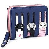 UTO Cute Cat borsa del Portafoglio Bifold in Pelle sintetica per Ragazza Porta carte carino gatto Piccola borsa Royal Blu