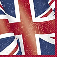 Unique Party 29662 - Best of British Union Jack Napkins, Pack of 16