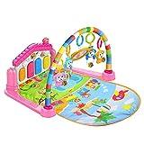 Lvbeis Baby Piano Gym Playmat con MÚSica Y Luces Newborn Alfombras De Juegos Infantiles Manta De Actividades,Pink