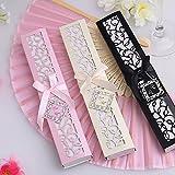 10 cajas para invitados de boda Very Prosperous con abanico de seda, color beige