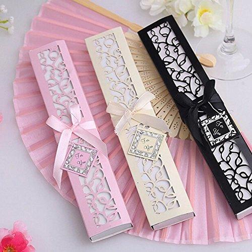 Sehr Glückliche 100neue Hochzeit begünstigt, und Geschenke Seide fan Hochzeit Supplies Party Gäste Geschenk-Box Presents (beige)