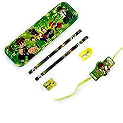Aapno Rajasthan Ben 10 Pencil Box & Rakhi Kids Hamper
