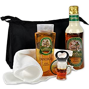 Handverpacktes Männer Bier Geschenke-Set Feierabend inklusive Bierbad und Duschgel plus Flaschenöffner dazu Waschtasche DAS ORIGINAL