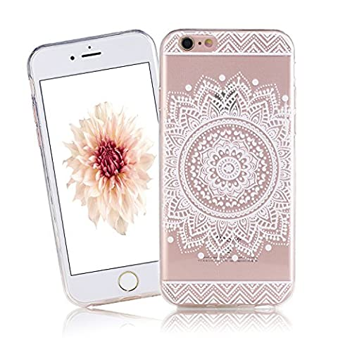 Coque iPhone 6 Plus , iPhone 6S Plus Etui TPU , CaseLover Mandala Blanc Motif Mode Etui Coque TPU Slim pour Apple iPhone 6 Plus / 6S Plus (5.5 pouces) Mode Flexible Souple Soft Case Couverture Housse Protection Anti rayures Mince Transparent Silicone Cover - Fleur White