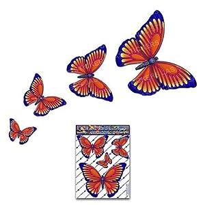 Schmetterling Orange D1 Kleintier Pack Auto Aufkleber - ST00025OR_SML - JAS Aufkleber