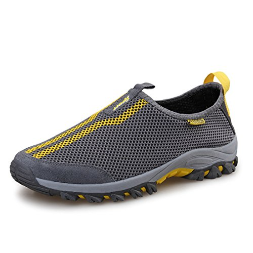 Men's Breathable Super Light Outdoor Athelitic Running Shoes Gray Yellow