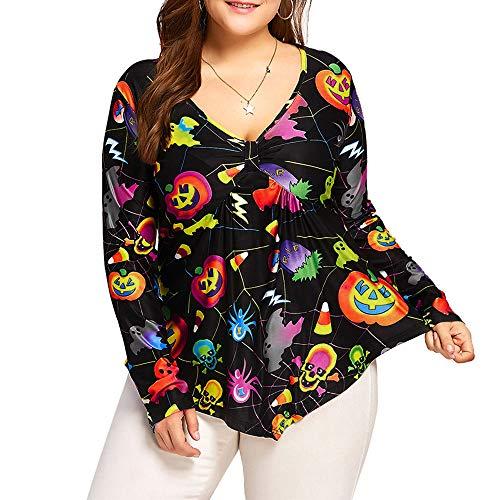 TEBAISE Halloween Damen Kostüm Zombie Lange Ärmel T-Shirt Tops Bluse Oberteil GroßE GrößEn(Gelb,4XL)