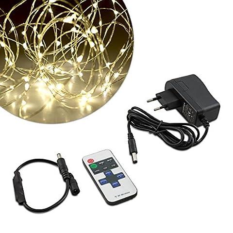 kwmobile LED Draht Lichterkette 10m - Warmweiße Beleuchtung mit Netzteil und Fernbedienung - Lichtband Drahtlichterkette - Licht Deko