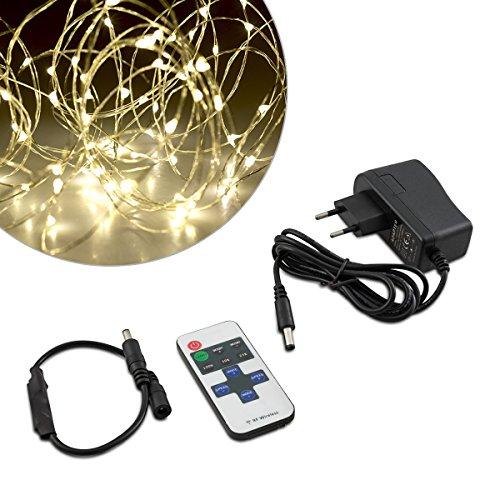 Kwmobile luci led catena luminosa - striscia 10m con telecomando - stringa luce diversi effetti dimmer illuminazione decorazione interni filo argento