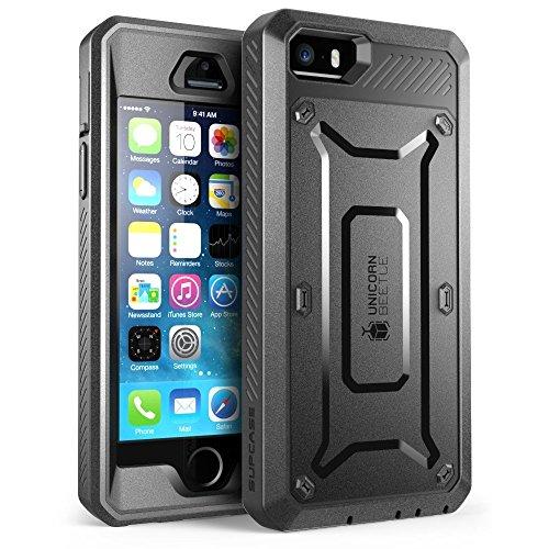 SUPCASE Apple iPhone SE (2016), 5S , 5 Hülle Unicorn Beetle PRO Handyhülle Outdoor Case Schutzhülle mit eingebautem Displayschutz und Gürtelclip, Schwarz
