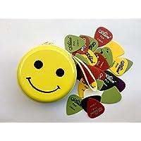 Alice 36pcs ABS antiscivolo plettri plettri per chitarra elettrica acustica opaco colorato 0.58mm/0.71mm/0.81mm/0.96mm in 1cute metal Picks Holder (Smile Emoji box)