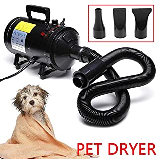 Autofather 2800W Dog Cat Hair Dryer Stepless Wind Speed Adjustable Temperature Pet Fur Hair Blow Heater Blaster Blower with 3 Nozzles