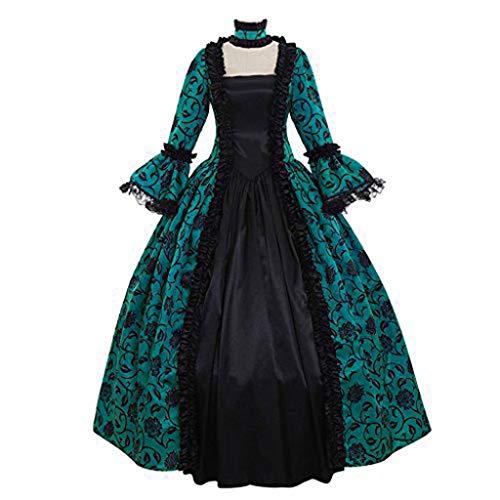 Mypace Elegant Sexy Bodycon Casual Dresses for Frauen-Fall-Winter-mittelalterliche Gotische Retro Blumendruck-Ballkleid-Kleid-mittelalterliche Ballkleid-Spitze,die Trompetehülse - Black Indian Girl Kostüm