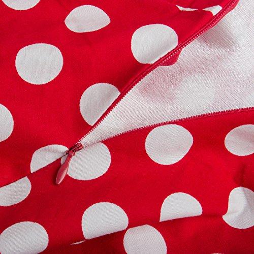 U-shot Abito da donna senza maniche, a pois, casalinga vintage, abito da damigella d'onore, per un cocktail party. Red