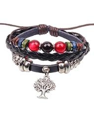 &ZHOU pulseras,3pcs, pulsera árbol patrón de aleación colgante, de color pulsera de cuentas, pulsera creativa, joyería, regalo creativo