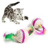 GUOYIHUA 5,5 cm colorido juguete de gato de pluma interactivo juguetes para gato juguetes para jugar...