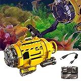 gaeruite Mini 3-Kanal-RC-Submarine-Fernbedienung Spielzeug mit Fütterungsgerät für Fische, Infrarot-Kamera für Fotografie