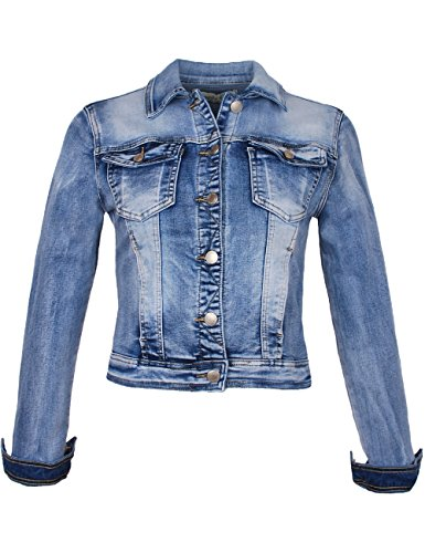 Fraternel Giacca di Jeans donna blouson denim stretch Blu