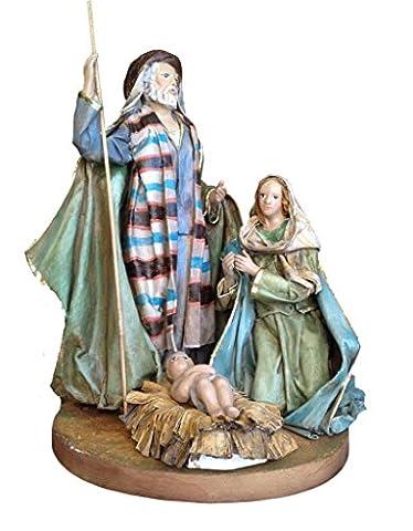 Pappmaché-Statue der Darstellung der Geburt Christi (Baby Jesus, Maria und Joseph) hergestellt und von Hand bemalt.