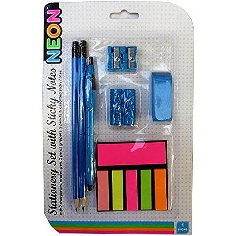 Paquete de Papelería con las Notas Adhesivas - Diseño de Neón - Azul - 9 Pieza