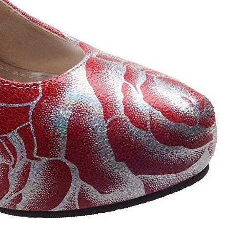 VogueZone009 Femme Rond Tire Pu Cuir Couleurs Mélangées à Talon Haut Chaussures Légeres Rouge