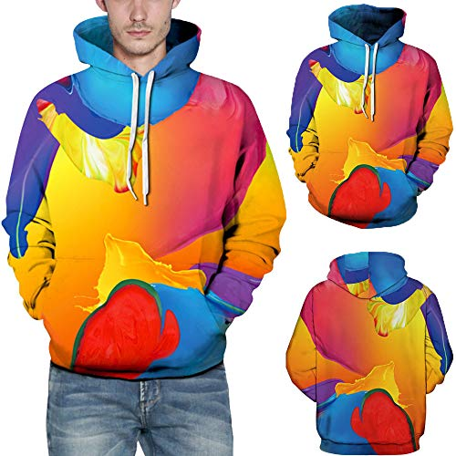 Hmeng Unisex Realistic 3D Printed Big Pockets Pullover Hoodie Sweatshirt (rot, M) - Jugend Hoody Sweatshirt