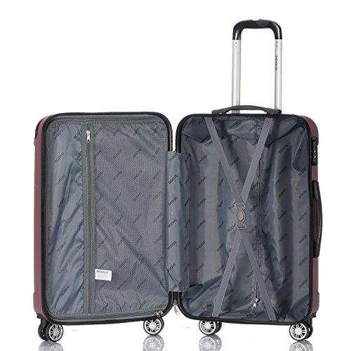 2045 Hartschale Koffer Trolley Reisekoffer einzelgröße XL-L-M in 10 Farben (M, Pink) - 7