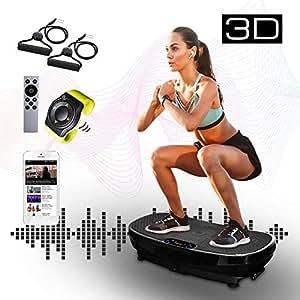XPLON 3D Vibrationsplatte Vibration Platte Vibrationstrainer inkl. Zugbänder Trainingsbänder Armbandfernbedienung Fernbedienung 99 Stuffen Bluetooth Musik VPM030