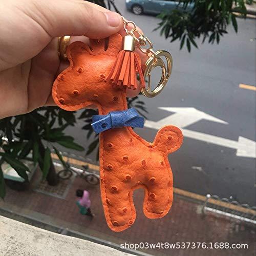 Schlüsselbund Niedliche Giraffe Form Metall Leder Strauß Muster Auto Key Ring Damen Tasche Anhänger Schmuck