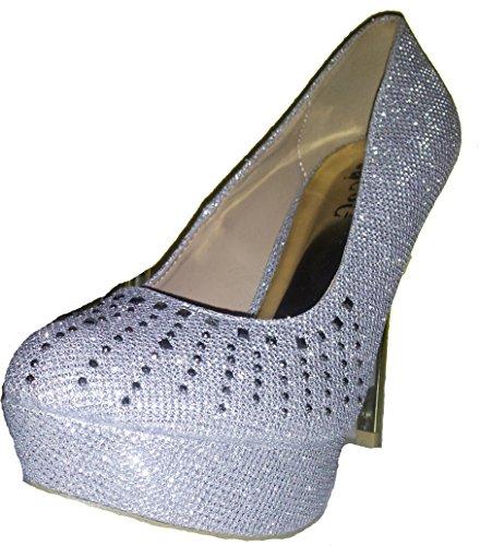Stiletto Pumps High Heels, chaussures femme, escarpins, modèle 1101400102001037 en rouge, argenté, olive-vert, bleu ou couleur d or, tailles 36, 37, 38, 39, 40, 41. Argenté.