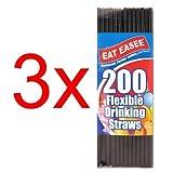600PC FLEXIBLE DRINKING STRAWS PARTY BIRTHDAY HOME BENDY BLACK CELEBRATIONS NEW