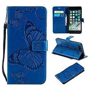 Misteem Hülle für Apple iPhone 5S 5/SE Schmetterlings Blume Lederhülle