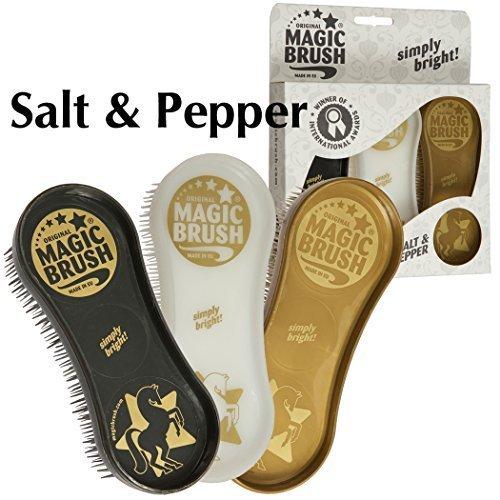 Magic Brush Pflegeset 3 tlg. Bürstenset für Pferde und gr. Hunde, für Fell Huf Bein Farbe: salt&pepper Pferdebürste Putzzeug