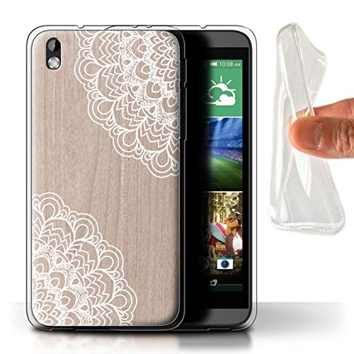 Stuff4® Gel TPU Hülle/Case für HTC Desire 816 / Ahornholz Muster/Fein Spitzenborte Holz Kollektion