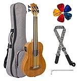 Kmise Elektrische Ukulele Bass Akustik Bass Ukulele 76,2 cm Mahagoni mit Gigbag Gurt Plektrumschlüssel