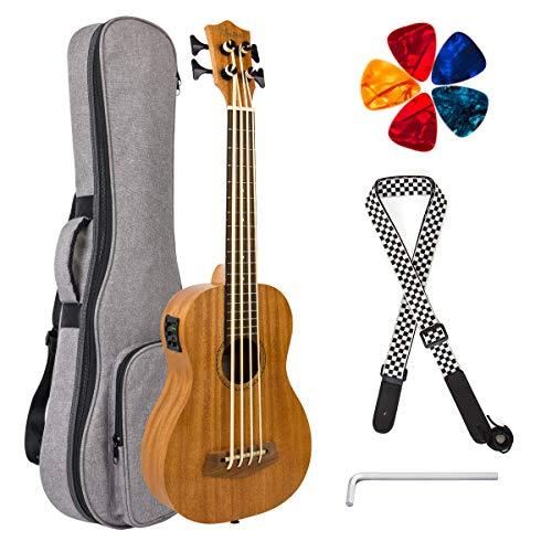Kmise Elektrische Ubass Akustik Bass Ukulele 76,2 cm Mahagoni mit Gigbag Gurt Plektrumschlüssel
