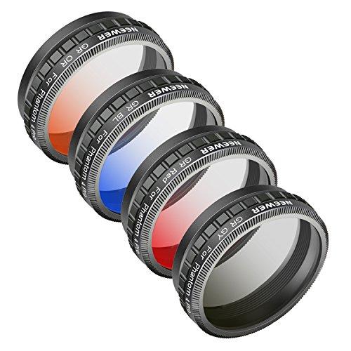 Neewer Kamera Objektiv Graduated Farbe Filter Kit für DJI Phantom 4Pro Drone Quadcopter: Graduated Orange, Blau, Rot, Grau Filter, aus HD Optisches Glas und Aluminium Legierung Rahmen