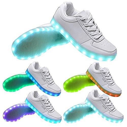 (Present:kleines Handtuch)JUNGLEST® Neu Damen Sneakers Leuchtende Blinkende Schuhe Led Light Licht Farbwec Weiß