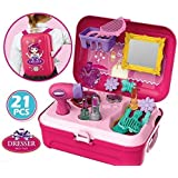 Storio 21 Pcs Backpack Style Little Girls Play Makeup Set - Pretend Salon Beauty Makeup Kit for Toddlers Kids Vanity Case Dress Up Toys Travel Playset