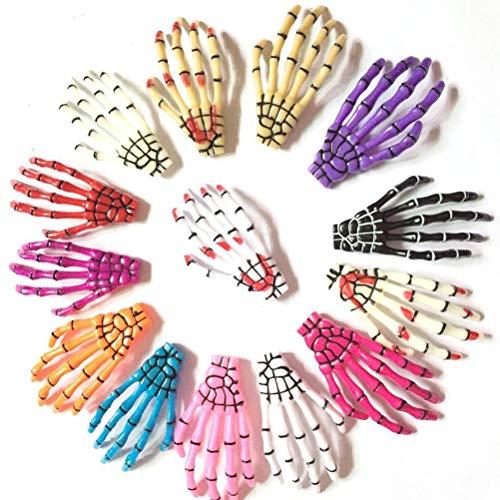 12 Paare Frauen Verschiedene Farben Haarschmuck Halloween Skeleton Hand Knochen Klaue Punk Haarspange