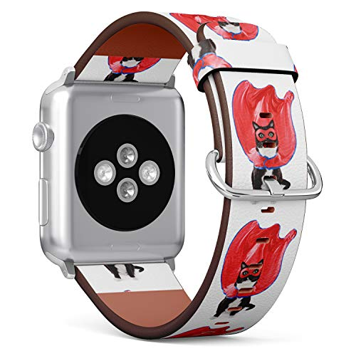 R-Rong kompatibel Watch Armband, Echtes Leder Uhrenarmband f¨¹r Apple Watch Series 4/3/2/1 Sport Edition 42/44mm - Funny White Tuxedo cat Costume Superhero