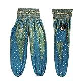 Damen Yoga Leggings, SHOBDW Männer Frauen Thai Harem Hosen Boho Festival Hippie Kittel Hohe Taille Yoga Hosen (One Size, Hellblau)