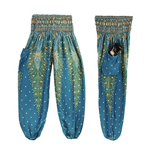 Damen Yoga Leggings, SHOBDW Männer Frauen Thai Harem Hosen Boho Festival Hippie Kittel Hohe Taille Yoga Hosen (One Size, Blau) (Unten Capri-hosen)