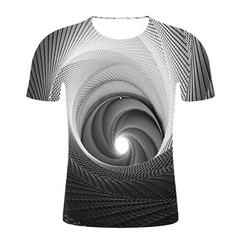 Yowablo T-Shirt Herrenmode Baumwolle T-Shirts Kurzarm Top 3D Gedruckt Lustige Rundhals Bluse T (M,1Schwarz)