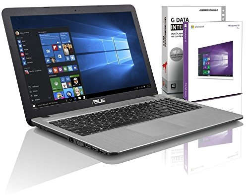 ASUS (15,6 Zoll) Notebook (Intel N3050 Dual Core 2x2.16 GHz, 4GB RAM, 750GB S-ATA HDD, Intel HD Graphic, HDMI, VGA, Webcam, USB 3.0, USB Type-C, WLAN, DVD-Brenner, Windows 10 Professional 64-Bit #5025