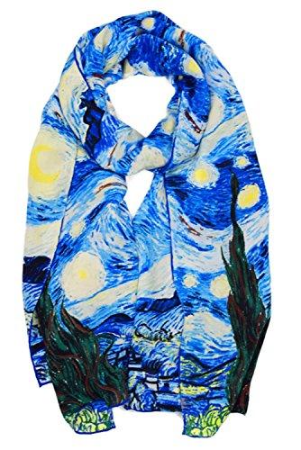 Collection-schal Aus Seide (ELEGNA Damen 100% seide art collection schal lange schal hand gerollter rand Van Gogh's Light Starry Night Medium)