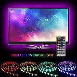 TV LED Beleuchtung,SOLMORE Led Stripe 2m USB Fernseher Beleuchtung TV LED Hintergrundbeleuchtung LED Band LED 2m Streifen Lichter Lichterketten Multicolor RGB-Licht mit Fernbedienung für Küchenschränke TV-Bildschirm und PC-Monitor Dekoration