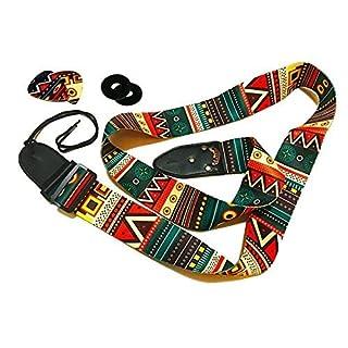 Vintage Aztec Farben Gitarrengurt Bundle beinhaltet 2 Strap Locks & 2 einzigartige Picks. Verstellbarer Polyestergitarrengurt - Geeignet für Bass-, Elektro- und Akustikgitarren.