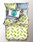 DecoKing 04852 Bettwäsche 135x200 cm Kinderbettwäsche mit 1 Kissenbezug 80x80 Bettwäscheset Bettbezüge Microfaser Bettwäschegarnituren Reißverschluss Basic Collection Lucky weiß grün orange gelb